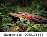 Cute Mini Doll And Red Mushroom ...