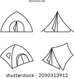 tent icons set isolated on...