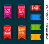 set of  sale ribbons. vector... | Shutterstock .eps vector #205032766