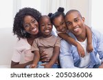 happy family posing on the... | Shutterstock . vector #205036006