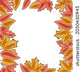 autumn leaves frame with white... | Shutterstock . vector #2050430945