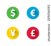 long shadow currency icons   Shutterstock .eps vector #205056592