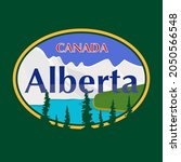 Canada - Alberta - vector illustration concept in vintage graphic style for t-shirts and other print production. Mountains, lake, forest vector illustration. Design elements.
