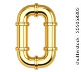number from golden gas pipes.... | Shutterstock . vector #205058302