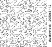 black and white doodle seamless ... | Shutterstock .eps vector #205065442