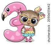 cute cartoon owl and number...   Shutterstock .eps vector #2050655642