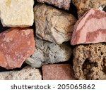 closeup of sedimentary rocks | Shutterstock . vector #205065862
