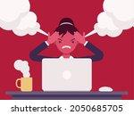 businesswoman working with... | Shutterstock .eps vector #2050685705