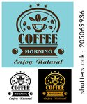 morning coffee cup poster or... | Shutterstock .eps vector #205069936