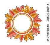 autumn leaves frame with white... | Shutterstock . vector #2050730045