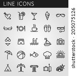 line icons set. summer holidays ... | Shutterstock .eps vector #205075126