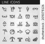 line icons set. summer holidays ... | Shutterstock .eps vector #205075126