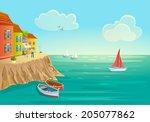 Italy. Beautiful Cartoon Style...