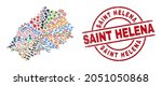 Saint Helena Island map collage and Saint Helena red circle stamp. Saint Helena stamp uses vector lines and arcs. Saint Helena Island map mosaic contains markers, homes, wrenches, bugs, hands,