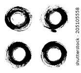 set of round grunge frames.... | Shutterstock . vector #205105558