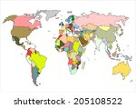 colorful world map  countries... | Shutterstock .eps vector #205108522