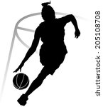 Silhouette Of Woman Basketball...