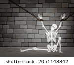 skeleton chained in dungeon.... | Shutterstock .eps vector #2051148842