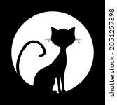 simple silhouette of black cat... | Shutterstock .eps vector #2051257898