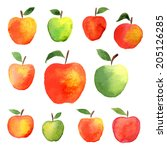 Big Set Of Watercolor Apple  ...