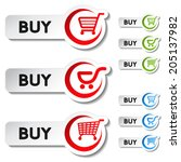shopping cart item   buy button ... | Shutterstock . vector #205137982