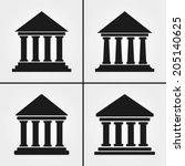 bank university museum icons  | Shutterstock .eps vector #205140625