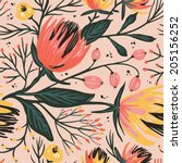 vector floral seamless pattern... | Shutterstock .eps vector #205156252