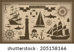 set of nautical design elements ... | Shutterstock .eps vector #205158166