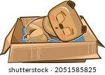 the bear sleeps in a cardboard...   Shutterstock .eps vector #2051585825