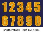 set of grunge scratched numbers. | Shutterstock .eps vector #2051614208