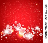 red background and snowflakes... | Shutterstock .eps vector #205162858