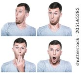 collage of surprised  amazed ... | Shutterstock . vector #205165282