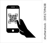 scan qr code with mobile phone. ... | Shutterstock .eps vector #2051739638