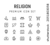 premium pack of religion line... | Shutterstock .eps vector #2051803058