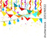 flags  lights and confetti.... | Shutterstock .eps vector #205198522