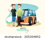 young handsome boys standing in ... | Shutterstock .eps vector #205204852