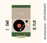 portable turntable with vinyl... | Shutterstock .eps vector #2052050405