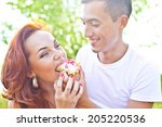 close up portrait of man feed... | Shutterstock . vector #205220536