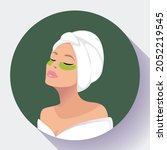 relaxed in spa woman with... | Shutterstock .eps vector #2052219545