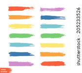 vector set of colorful brush... | Shutterstock .eps vector #205233526