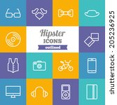 set of flat hipster icons  | Shutterstock .eps vector #205236925