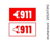 two label with the number 911 | Shutterstock .eps vector #205247392