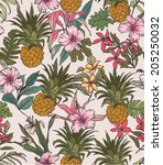 Seamless Tropical Flower With...