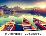 fantastic mountain lake in... | Shutterstock . vector #205250962