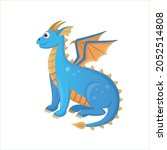 the sitting blue dragon with... | Shutterstock .eps vector #2052514808