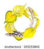 beautiful vintage autumn wreath ... | Shutterstock . vector #205253842