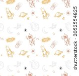 seamless pattern with doodles... | Shutterstock .eps vector #2052554825
