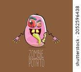 vector funny cartoon cute pink...   Shutterstock .eps vector #2052596438