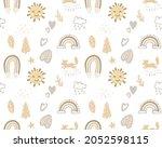 boho seamless rainbow pattern... | Shutterstock .eps vector #2052598115