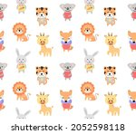 cartoon cute vector animals for ... | Shutterstock .eps vector #2052598118